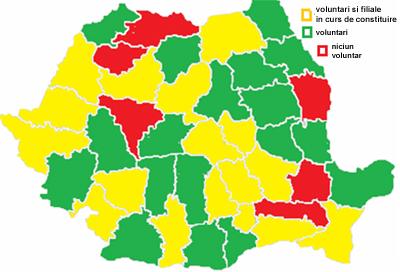 Harta cu situatia actuala a voluntarilor ARC